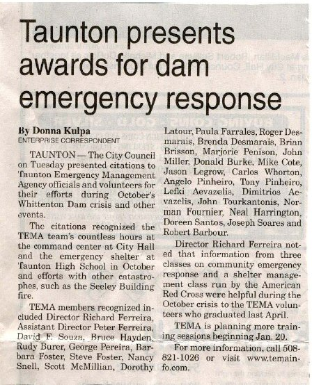 Taunton newspaper clipping, Dam emergency