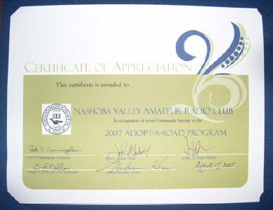 NVARC Certificate of Appreciation for Adopt-A-Highway 2007