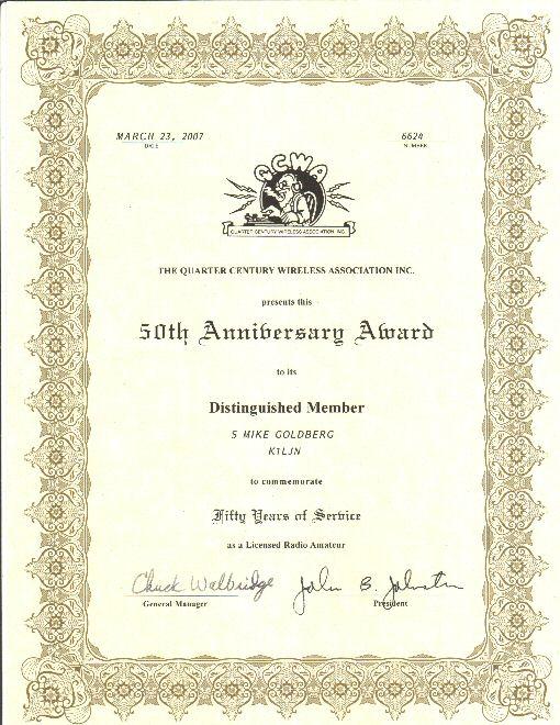 QCWA 50 Year Anniversary Award certificate