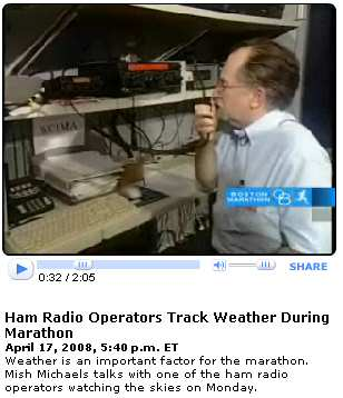 WBZ TV video clip showing W3EVE, describing ham radio's involvement in 2008 BAA Marathon
