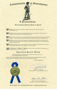 2010 Amateur Radio Week Proclamation in MA