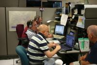 Phil McLaughlin, KB1CYO; Steve Schwarm, W3EVE; Rob Macedo, KD1CY; Jim Tynan, KC1JET at the National Weather Service in Taunton