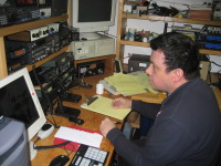 Frank O'Laughlin, WQ1O operating from the Hyannis American Red Cross station, K1PBO