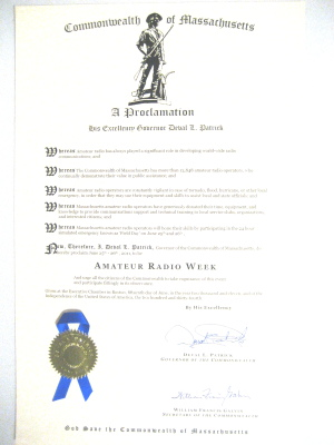 MA Amateur Radio Week 2011 Proclamation