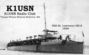 USS Lawence/ K1USN QSL card