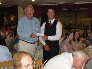 Brendan Silkey, KB1FGU receives scholarship from FARA's Jim Weckback, W1EQW