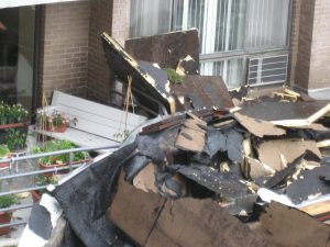 Storm damage to large apartment building in Watertown, June 6, 2010