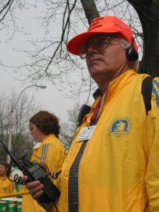 Amateur radio operator stationed along the Boston Athletic Association course.