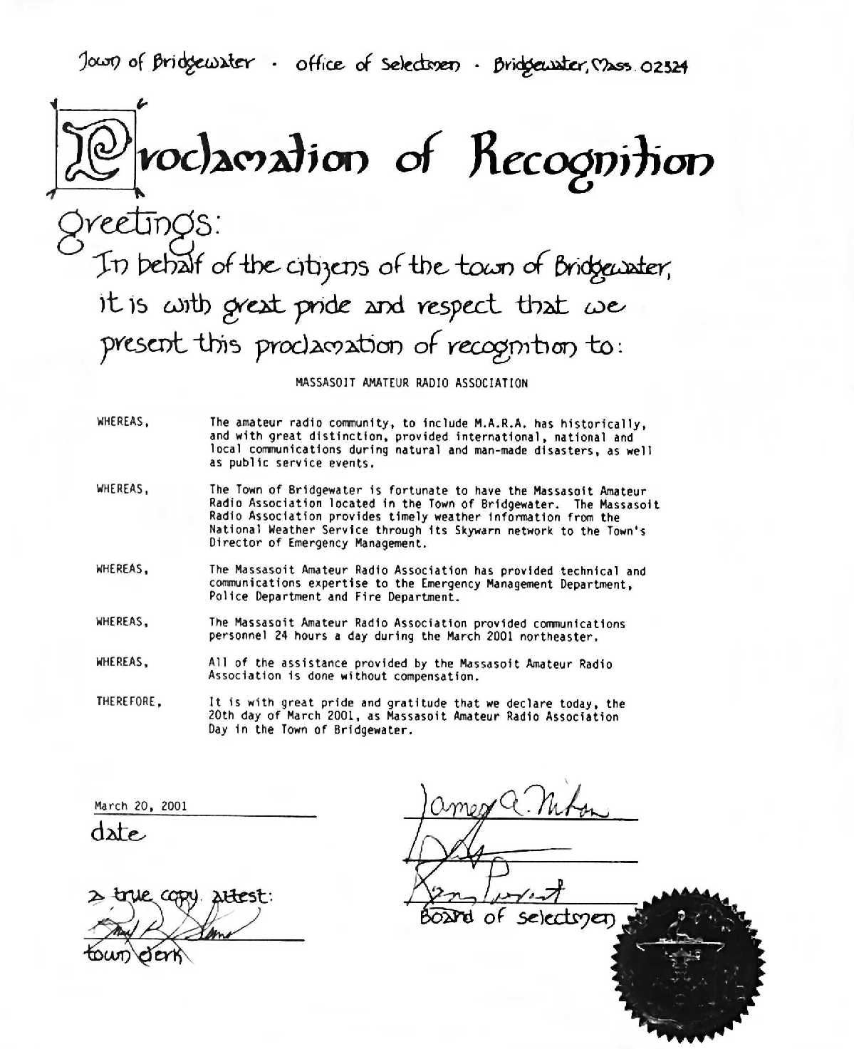 "image of Bridgewater Town of Selectmen Proclaim ""MARA Day"""