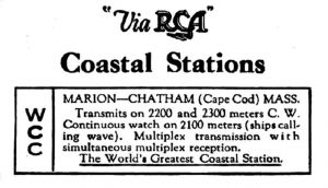 "Antique ""Via RCA"" WCC advertisement"