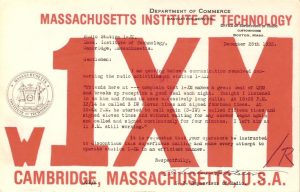 w1xm qsl card, depicting dept. of commerce citation