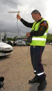 photo of an individual performing radio direction finding