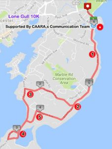 map of course, Lone Gull 10k, Gloucester MA