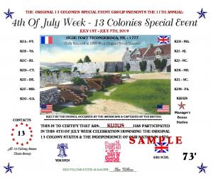 13 Colonies sample certificate