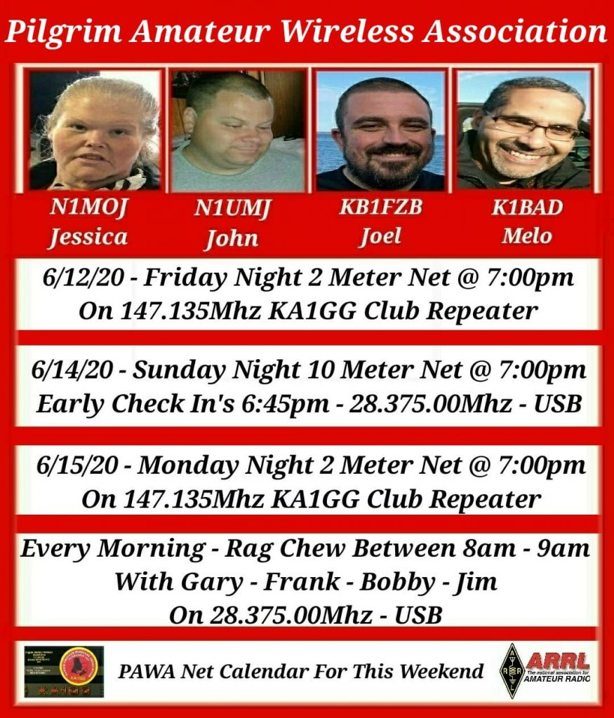 Pilgrim AWA Net Schedule for the week of 6/12/20