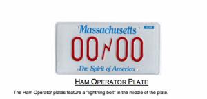 MA ham operator sample license plate