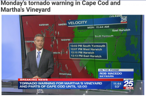 Screenshot of KD1CY Interview with FOX-25 TV re rare November tornado warning