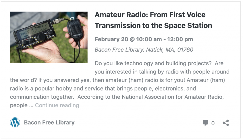 Natick Library ham radio presentation press release