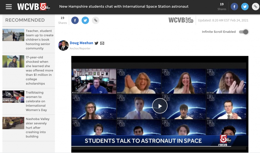 screenshot of Nashua ARS ARISS school contact, WCVB.com