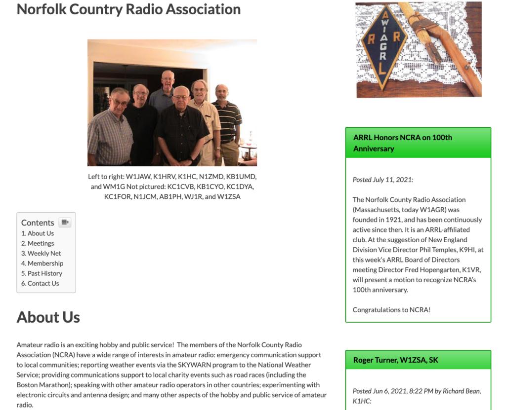 NCRA webpage screenshot